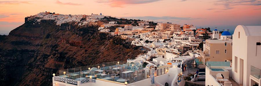 Greece Photograph - Santorini Skyline Sunset by Songquan Deng