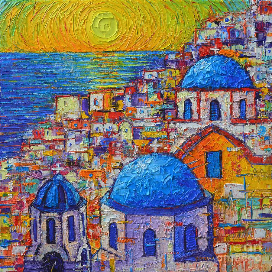 SANTORINI SUNSET - OIA BLUE DOMES ABSTRACT CITYSCAPE  by ANA MARIA EDULESCU