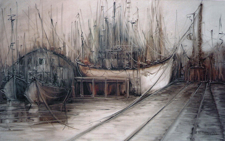 Harbour Painting - Santos Harbour by Fatima Stamato