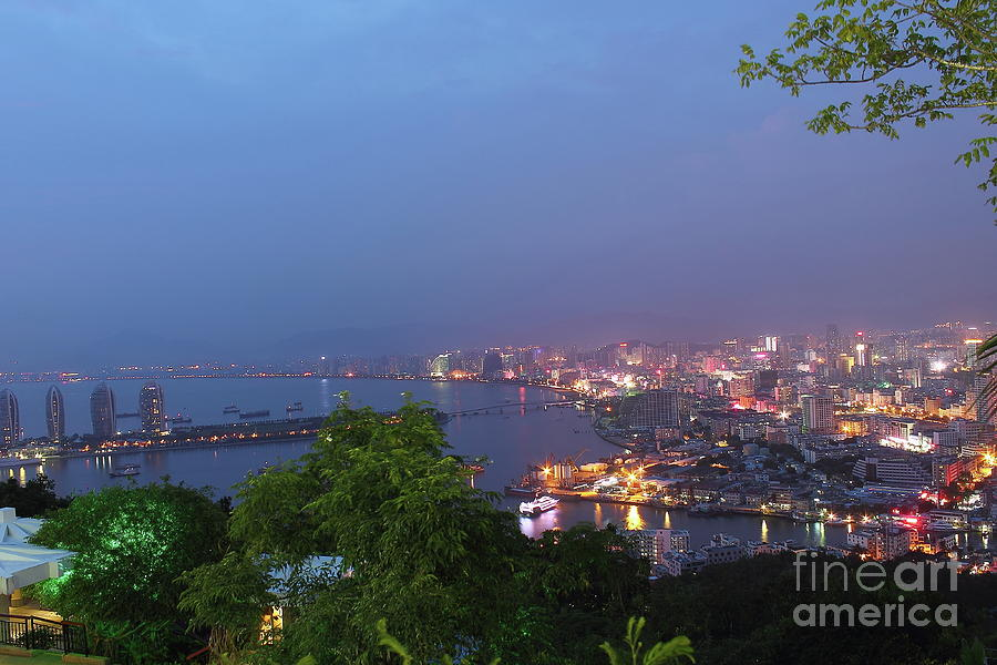 Sanya Night Scene With City Lights, Luxury Town In Hainan. Photograph