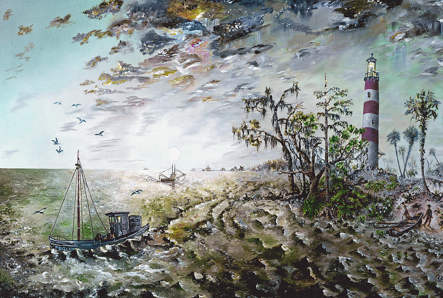 Lighthouse Painting - Sapelo Island by Richard Barham