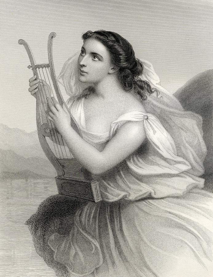 Art Work Drawing - Sappho,born Between 630 612 B.c.   570 by Vintage Design Pics