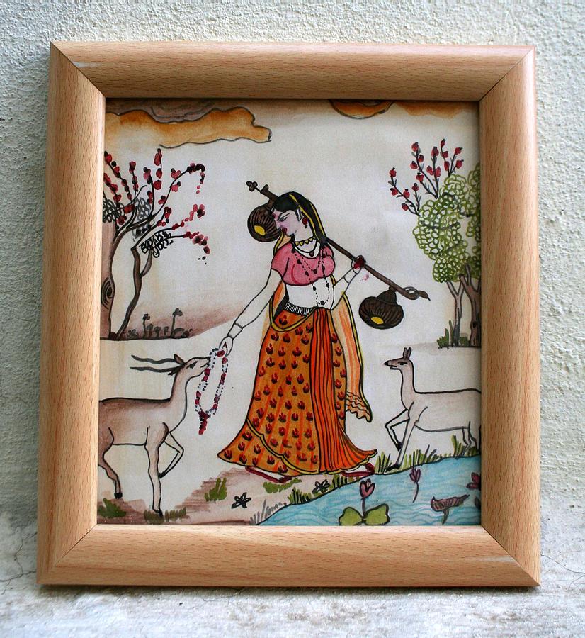 Miniature Painting - Sara - Indian Miniature 1 by Sarika  Patki