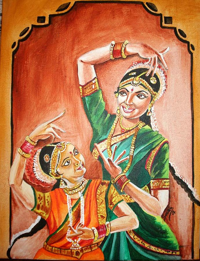 World Culture Painting - Sara-indian Traditional Dance  by Sarika  Patki