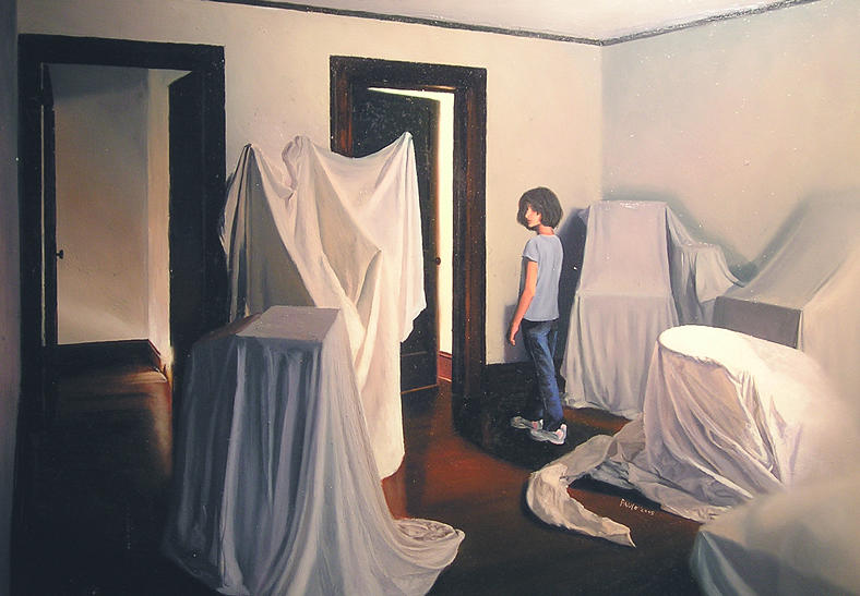 Figure Painting - Sarah Walks In To The Light And Doubts. She Does Not Want To Leave The Ghosts Behind by Paulo Jimenez