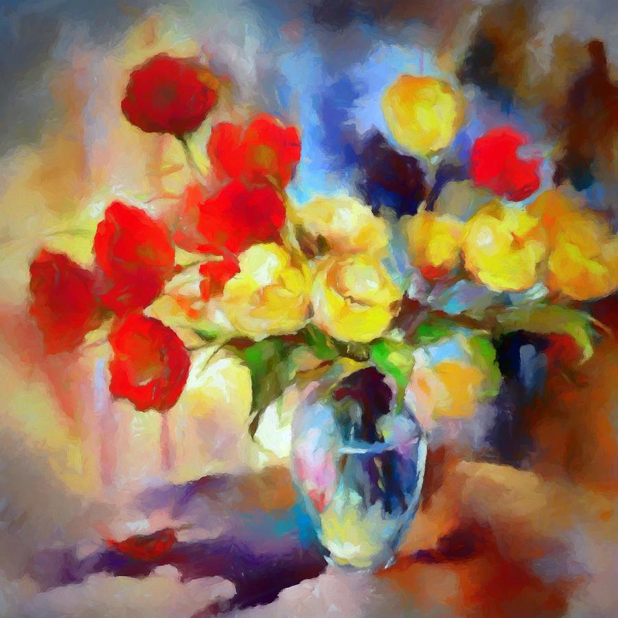 Bouquet Digital Art - Saras Colorful Bouquet  by Ronald Bolokofsky