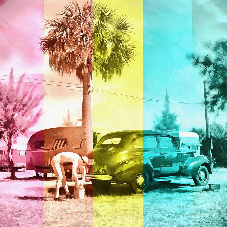 Florida Painting - Sarasota Series Wash The Car by Edward Fielding