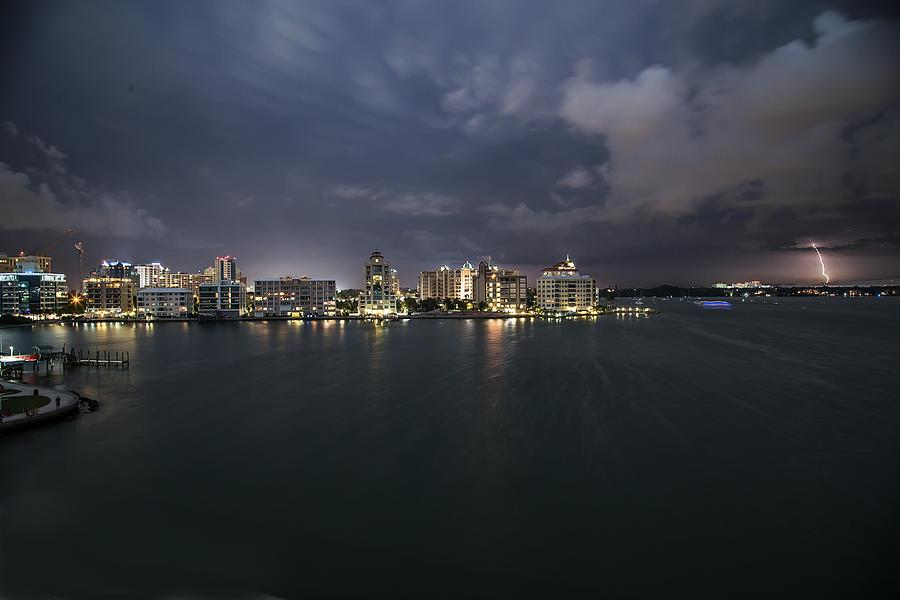 Sarasota Photograph - Cityscape - Sarasota Skyline Lightening by J Darrell Hutto