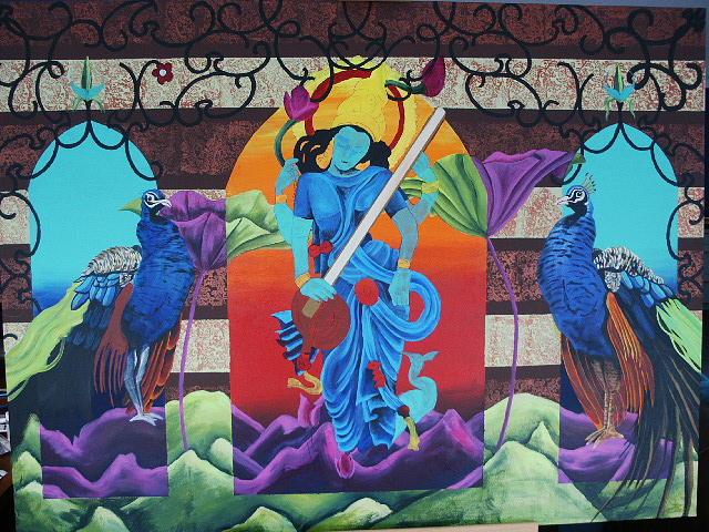 India Painting - Sarasvatti by Warren Payne