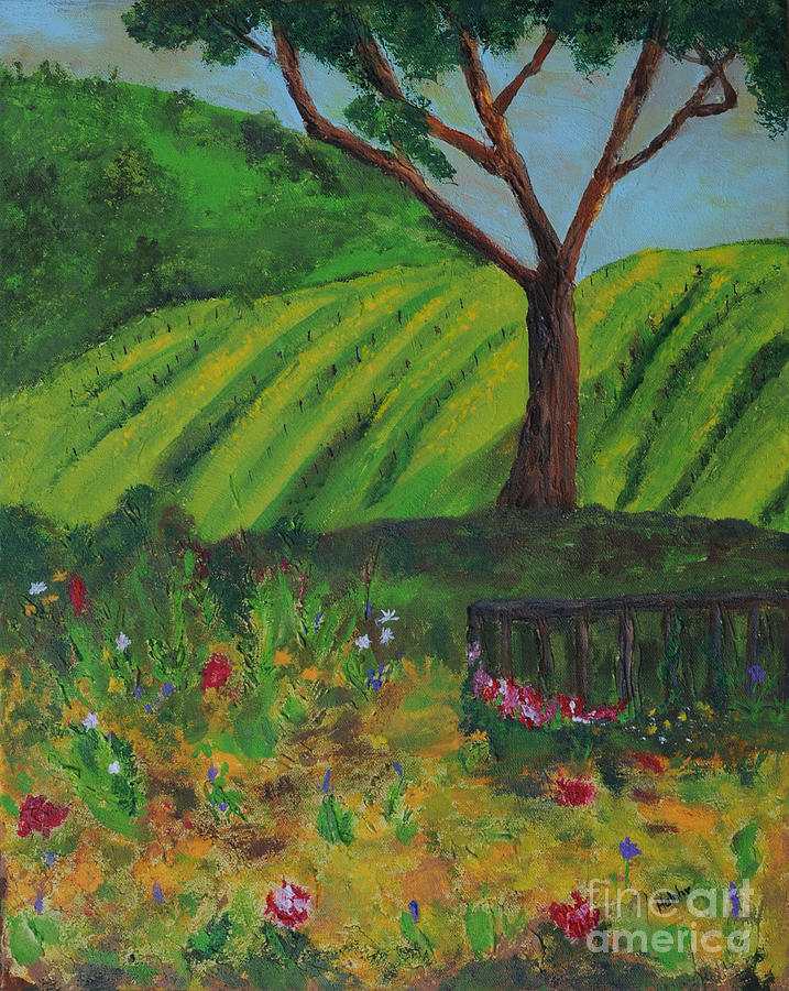 Vineyard Painting - Saratoga Hills by Haleh Mahbod