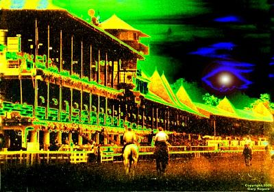 Horse Racing Digital Art - Saratoga Sky by Gary Rogers