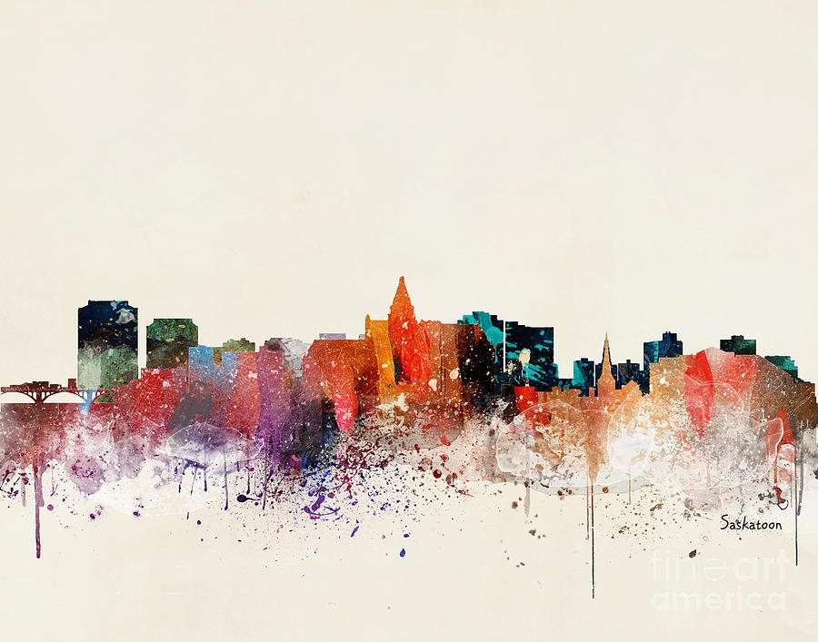 Skylines Painting - Saskatoon Skyline by Bri Buckley