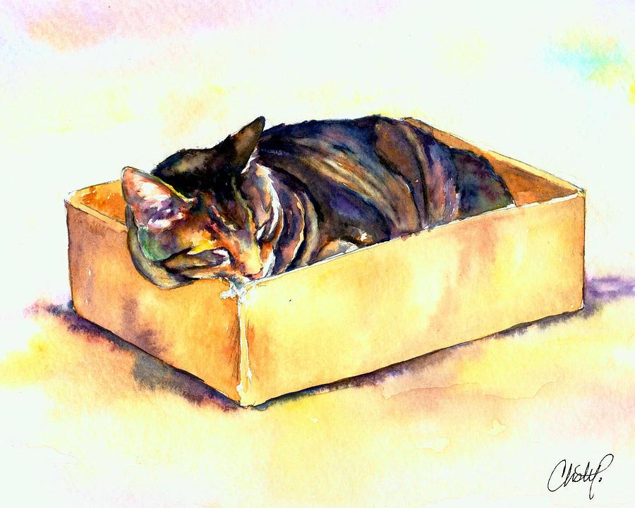 Striped Painting - Sassy Sleeping by Christy  Freeman
