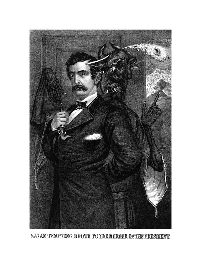 John Wilkes Booth Drawing - Satan Tempting John Wilkes Booth by War Is Hell Store