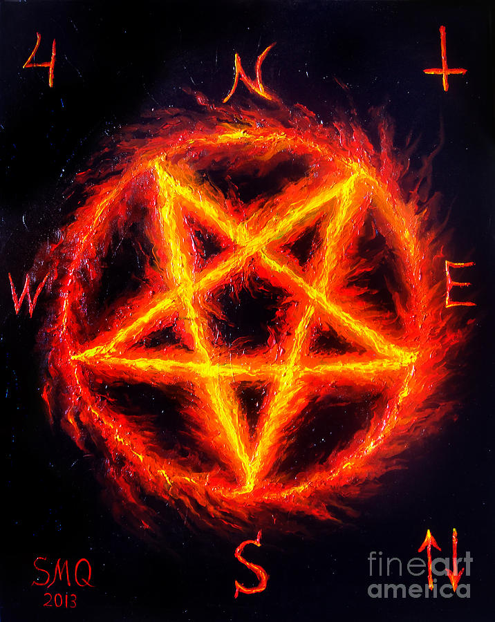 Satanic Fire Pentagram Hail 666 Painting By Sofia Metal Queen