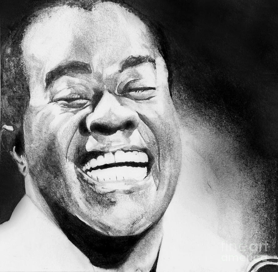 Louie Armstrong Drawing - Satchmo by Carrie Jackson