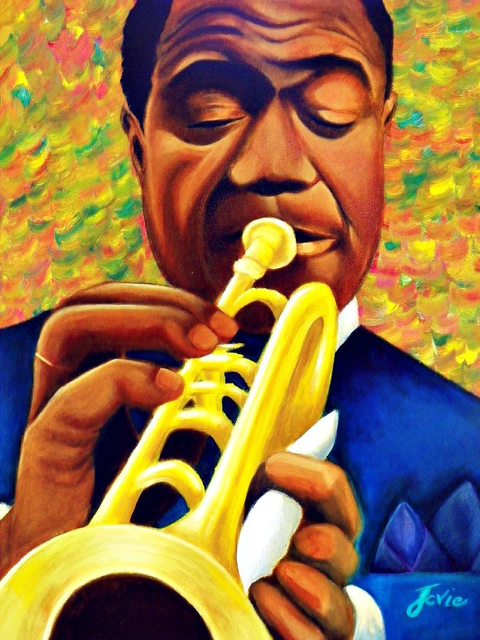 Louis Armstrong Painting - Satchmo, Louis Armstrong Painting by Jevie Stegner
