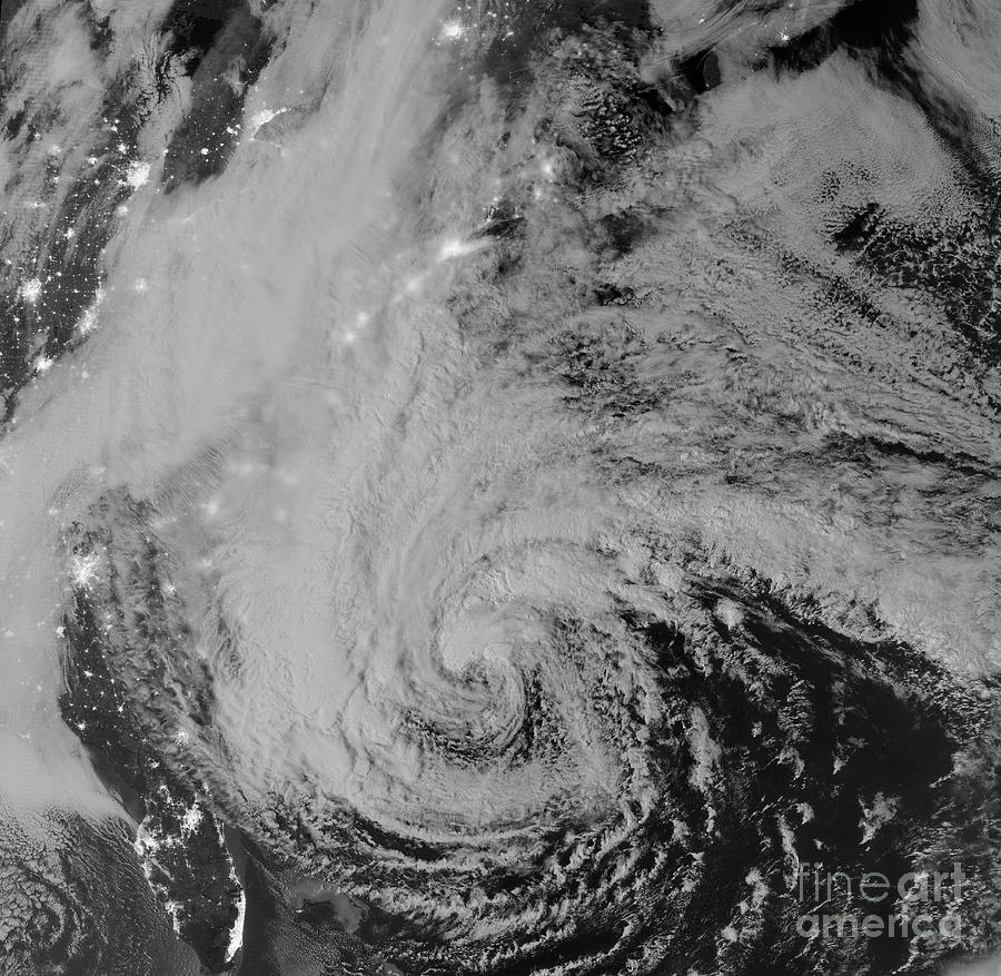 Black And White Photograph - Satellite View Of Hurricane Sandy by Stocktrek Images