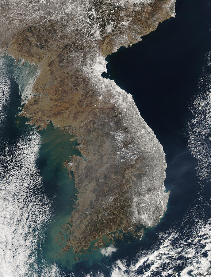 Snowstorm Photograph - Satellite View Of Snowfall Along South by Stocktrek Images