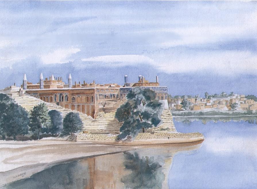 Landscape Painting - Sattaein Jo Aastan by Sajjad Musavi