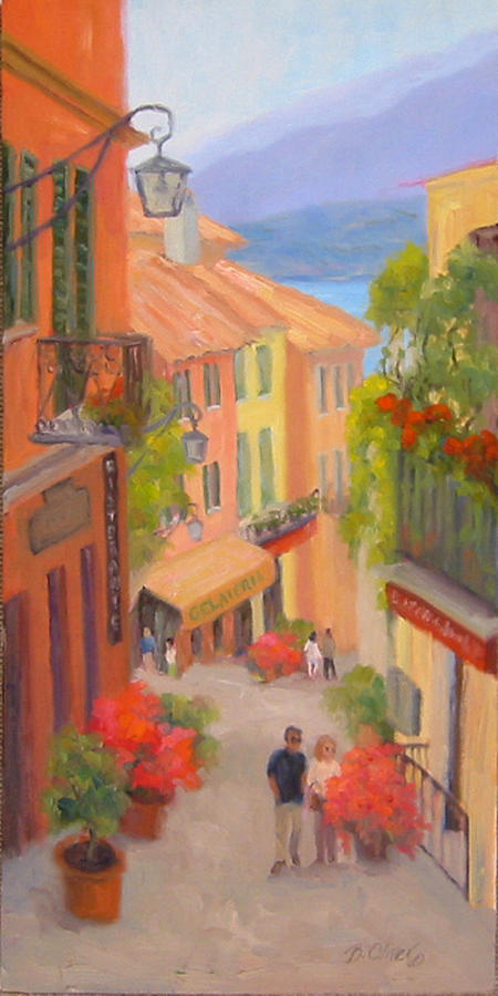 Bellagio Painting - Saturday Stroll - Bellagio by Bunny Oliver