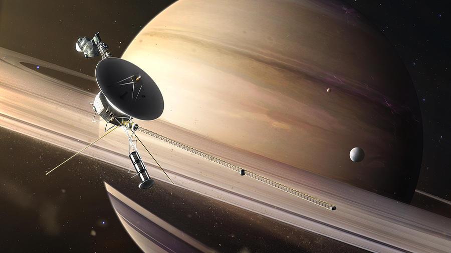 Saturn Painting - Saturn Flyby by Tobias Roetsch