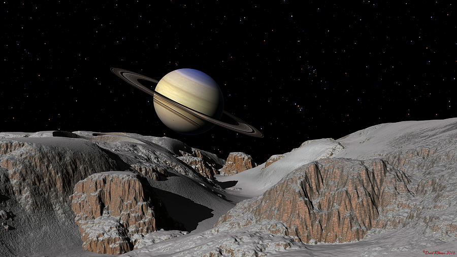 Saturn from the moon Dione by David Robinson