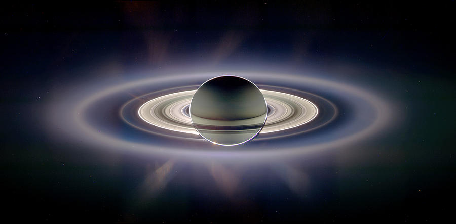 Saturn Photograph - Saturn Silhouetted, Cassini Image by Nasajplspace Science Institute