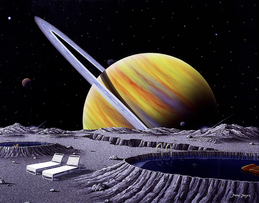 Space Painting - Saturn Spa by Snake Jagger
