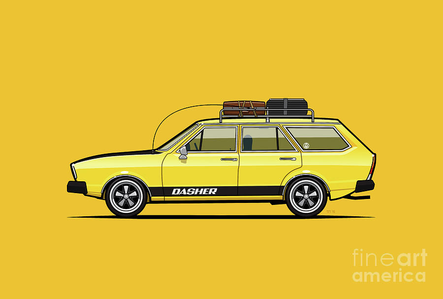 Saturn Yellow Volkswagen Dasher Wagon by Monkey Crisis On Mars