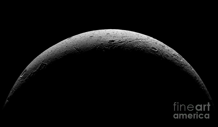 Astronomical Photograph - Saturns Moon Dione by Nasa