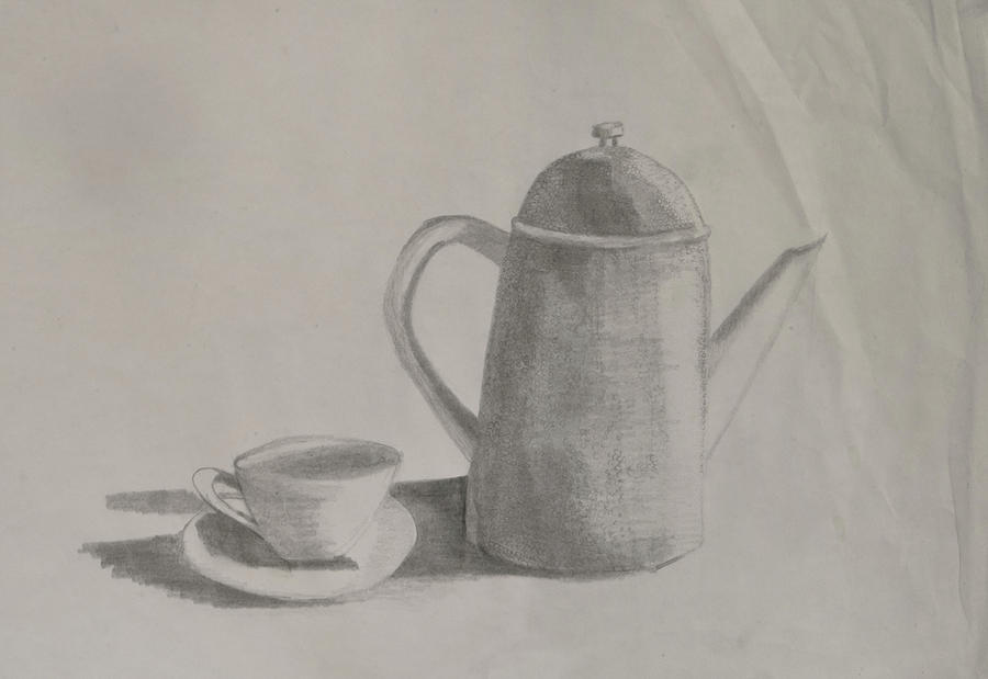 Beverage Drawing - Saucer and pot by Lynette Fekete