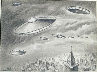 Saucers Drawing - Saucers by Forrest  Hibbits