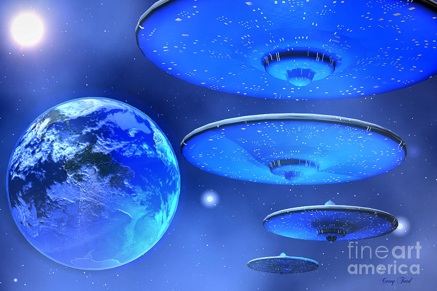 Spaceship Painting - Saucers by Corey Ford
