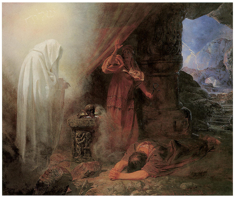 Edward Henry Corbould Painting - Saul and the Witch of Endor by Edward Henry Corbould
