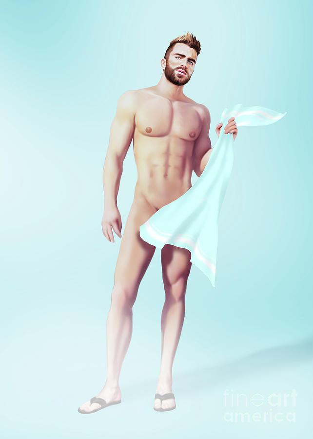 Gay Painting - Sauna by Bad Robin
