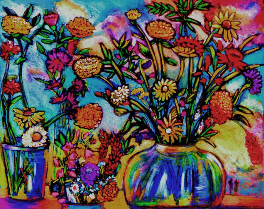 Landscape Painting - Sauvie Island Flowers by Angelina Marino
