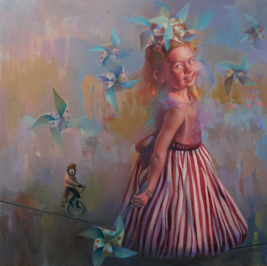 Figurative Painting - Savanah at Play by Cathy Locke