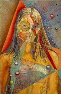 Geometric Painting - Savanna Mae by Cindy Pharis