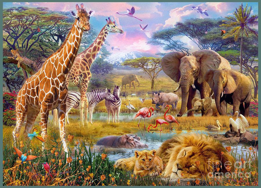 Savannah Animals Digital Art By Jan Patrik Krasny