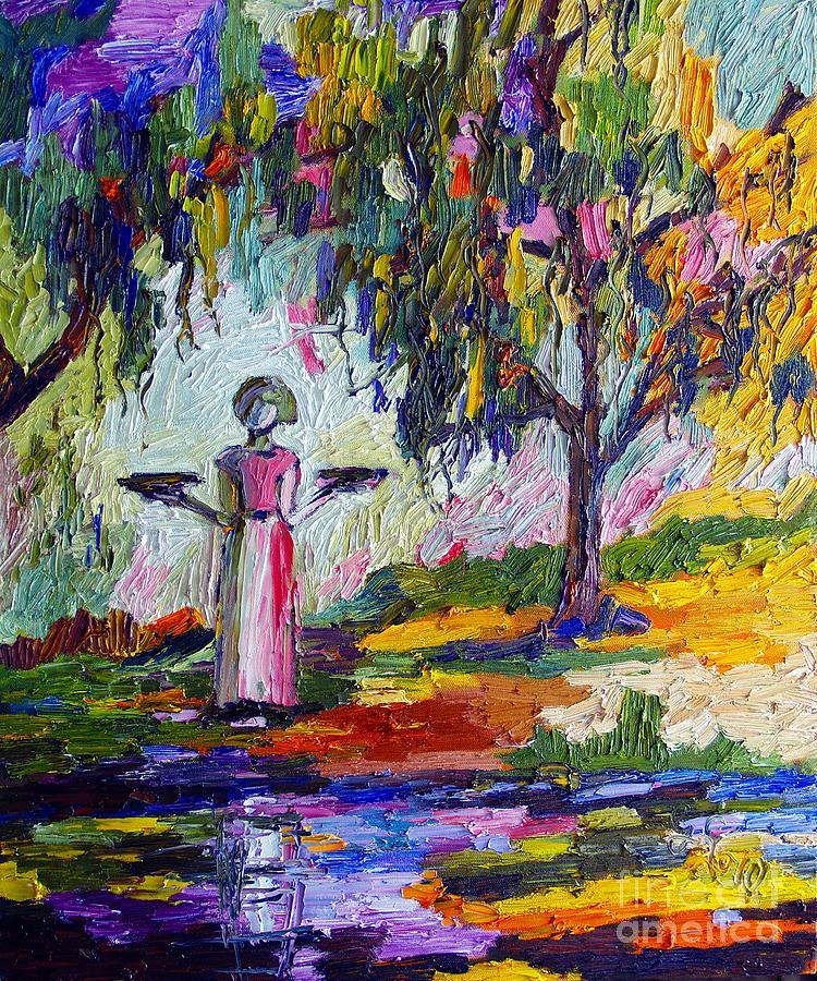Savannah Georgia Bird Girl Painting by Ginette Callaway