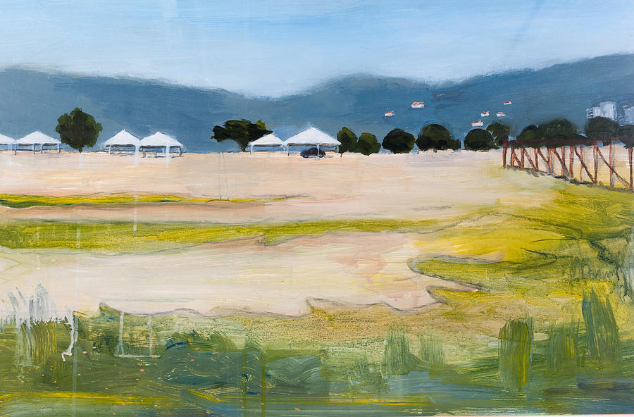 Landscape Painting - Savannah With Tents by Mary Adam
