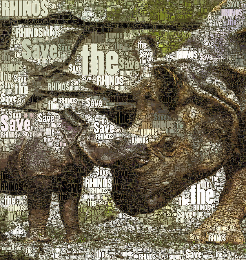Save The Rhinos Mixed Media - Save The Rhinos by Susan Maxwell Schmidt