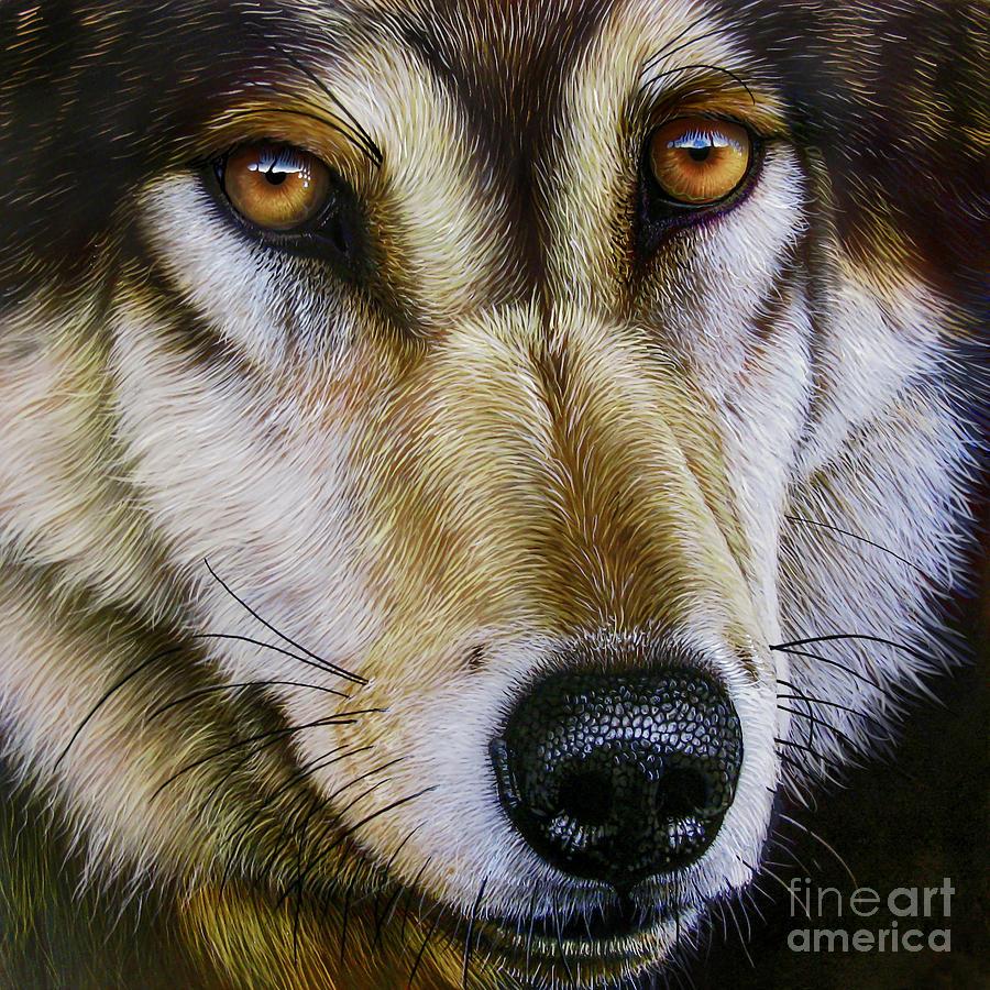 Wolf Painting - Save The Wolf by Jurek Zamoyski