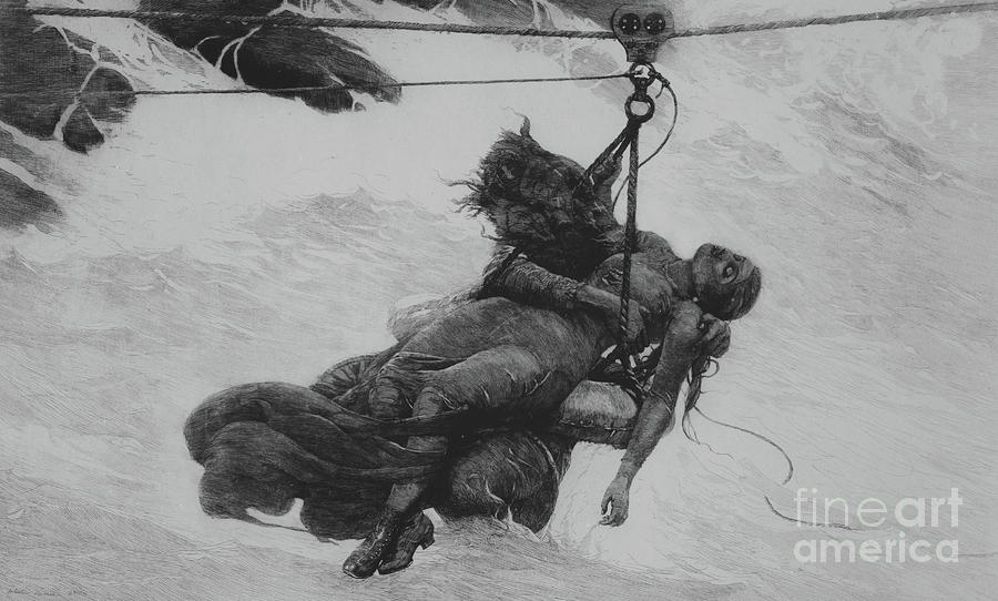 Saved Drawing - Saved, 1889 by Winslow Homer