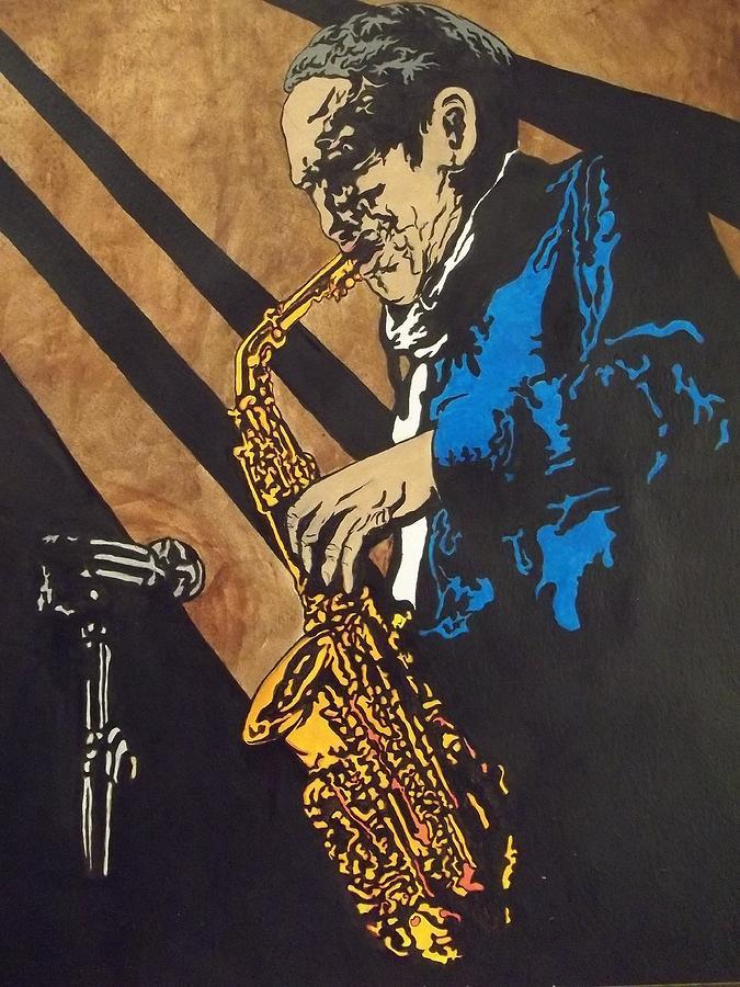 Saxaphone Painting - Sax After Dark by Shane Hurd