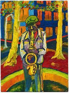 Sax Man Print by Jim Marzano