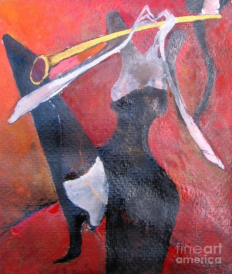 Sax Painting - Sax Player by Maya Manolova