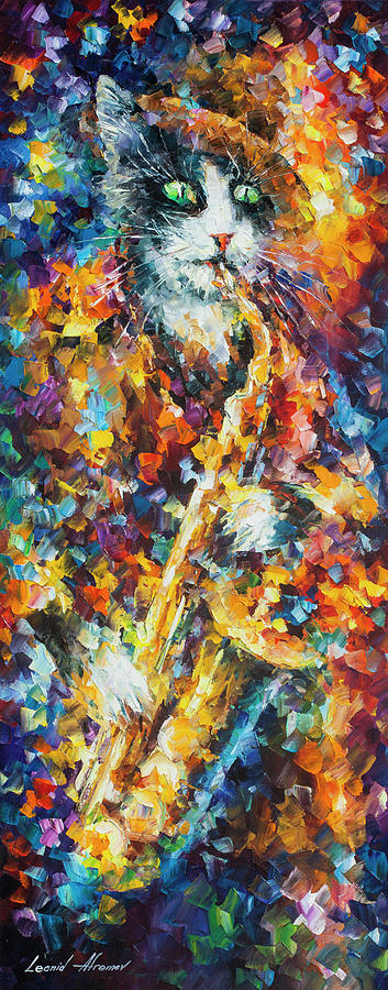 Painting Painting - Saxophone Cat   by Leonid Afremov