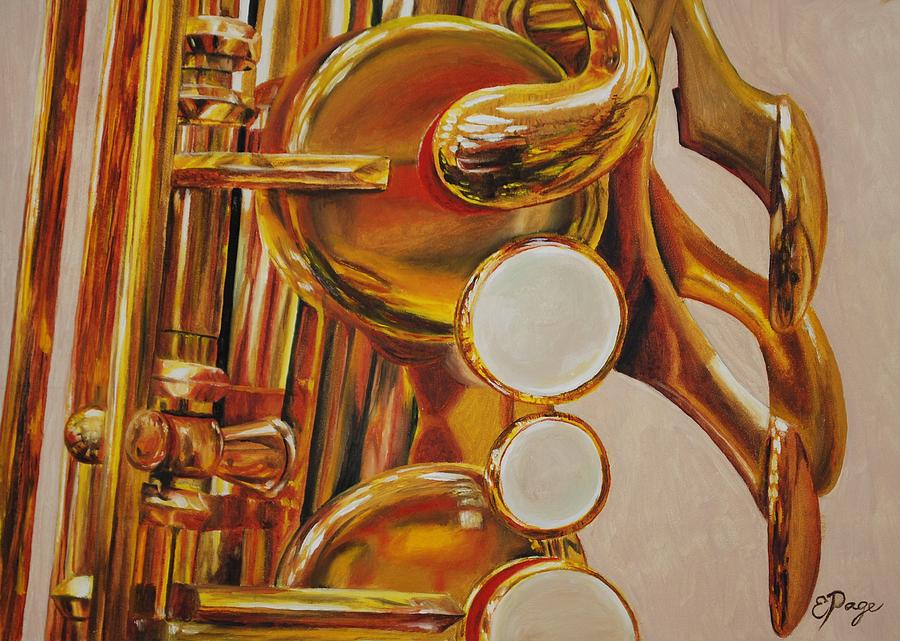 Realism Painting - Saxophone by Emily Page